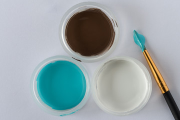 Blue, Brown, and White artist's paints