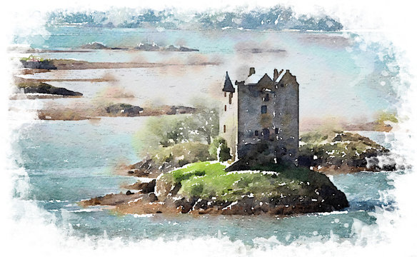 Watercolor of a castle surrounded by water