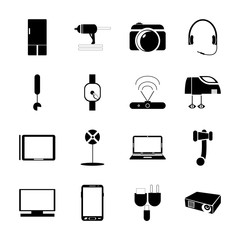 icon Technology with icebox, line dj, cinema, antenna and electronic