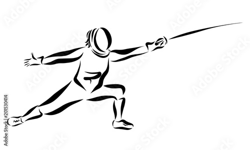 Man with a sword, fencing