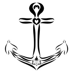 Anchor with a cross, a bible and birds