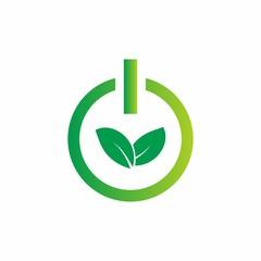 save energy logo design with green leaf