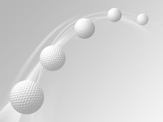 Flight path of golf ball. 3D Illustration