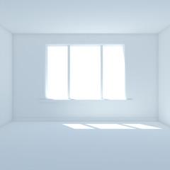 Blue room with big window 3D render