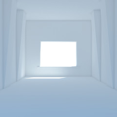 Blue room with big window 3D render