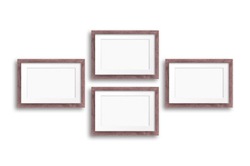 Four wooden frames mock up isolated on white