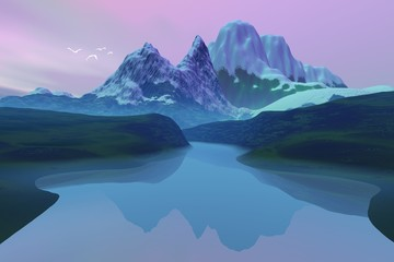 Beautiful lake, an alpine landscape, snowy mountains, birds in the sky and colored clouds.