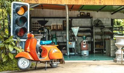 Fotorolgordijn Scooter Vintage Orange Motorcycle