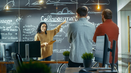 Female Project Manager Holds a Meeting with Her Coworkers, She Holds Tablet Computer and Shows Her Plan Drawning a Blackboard Wall. They Work in the Creative Agency.