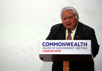 Samoan Prime Minister Tuilaepa Aiono Sailele Malielegaoi speaks during a news conference to mark the end of the Commonwealth Heads of Government Meeting at Marlborough House in London