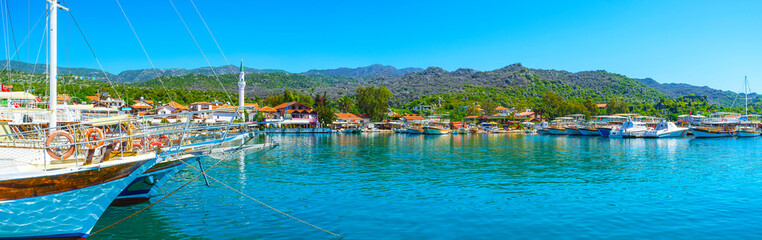 Panorama of Ucagiz village from the sea, Kekova, Turkey