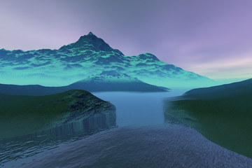 Blue waters, a polar landscape, grass on the ground, rocks, snowy mountains and a cloudy sky.