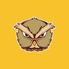 Owl Head Mascot Icon Logo