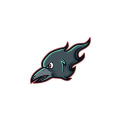 Crow Raven Head Mascot Icon Logo