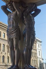 Granite Statues of Atlantes, New Hermitage in Saint Petersburg, Russia