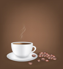 White coffee cup with coffee beans dark background, vector