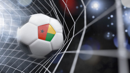 Realistic soccer ball in the net with the flag of Guinea-Bissau.(series)
