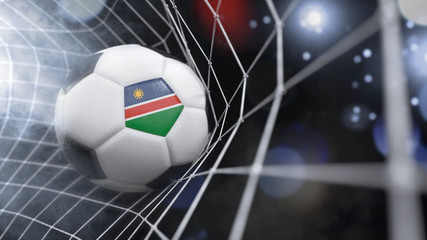 Realistic soccer ball in the net with the flag of Namibia.(series)