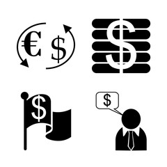 icon Currency with cashier, bank clerk, axchange, euro and finance