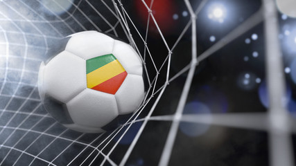 Realistic soccer ball in the net with the flag of Republic of the Congo.(series)