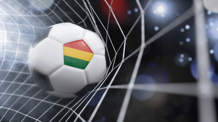 Realistic soccer ball in the net with the flag of Bolivia.(series)