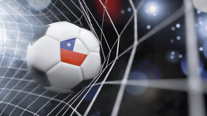 Realistic soccer ball in the net with the flag of Chile.(series)
