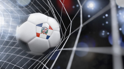 Realistic soccer ball in the net with the flag of Dominican Republic.(series)