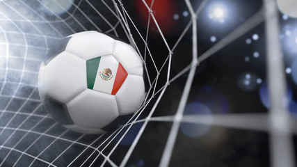 Realistic soccer ball in the net with the flag of Mexico.(series)