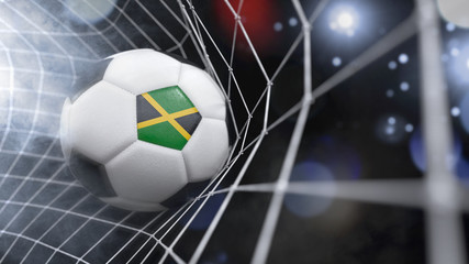 Realistic soccer ball in the net with the flag of Jamaica.(series)
