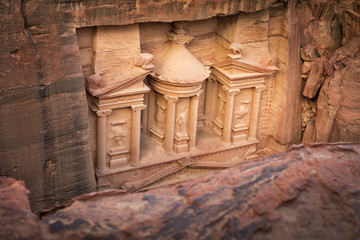 top view to the tresurement of Petra in Jordan