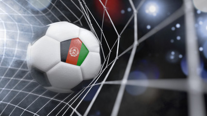 Realistic soccer ball in the net with the flag of Afghanistan.(series)