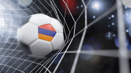 Realistic soccer ball in the net with the flag of Armenia.(series)