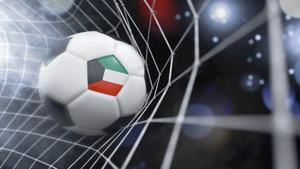 Realistic soccer ball in the net with the flag of Kuwait.(series)