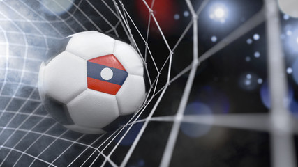 Realistic soccer ball in the net with the flag of Laos.(series)