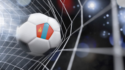 Realistic soccer ball in the net with the flag of Mongolia.(series)