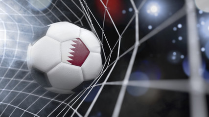 Realistic soccer ball in the net with the flag of Qatar.(series)
