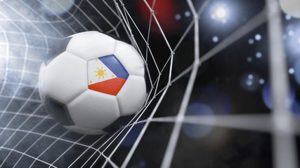 Realistic soccer ball in the net with the flag of Philippines.(series)