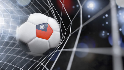 Realistic soccer ball in the net with the flag of Taiwan.(series)