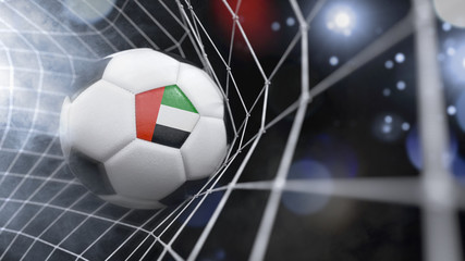 Realistic soccer ball in the net with the flag of United Arab Emirates.(series)