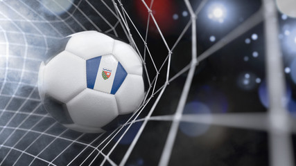 Realistic soccer ball in the net with the flag of Northwest Territories.(series)
