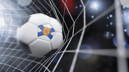 Realistic soccer ball in the net with the flag of Nova Scotia.(series)