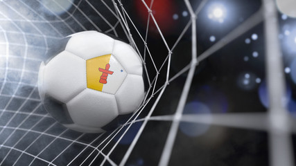 Realistic soccer ball in the net with the flag of Nunavut.(series)