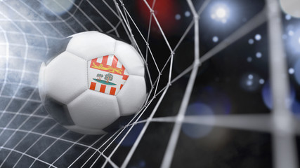 Realistic soccer ball in the net with the flag of Prince Edward Island.(series)