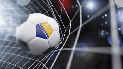 Realistic soccer ball in the net with the flag of Bosnia and Herzegovina.(series)