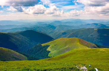 beautiful scenery on a summer day in mountains. wonderful place for hiking and spent time outside. good weather with some clouds on a sky