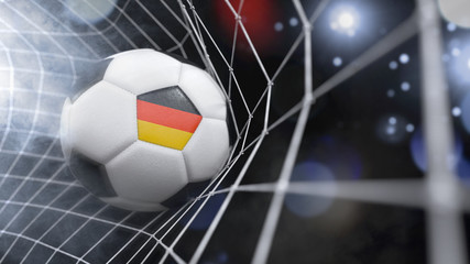 Realistic soccer ball in the net with the flag of Germany.(series)