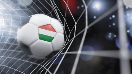 Realistic soccer ball in the net with the flag of Hungary.(series)