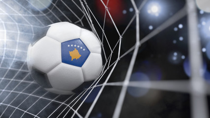 Realistic soccer ball in the net with the flag of Kosovo.(series)