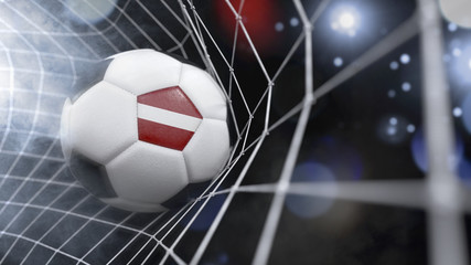 Realistic soccer ball in the net with the flag of Latvia.(series)