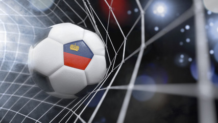 Realistic soccer ball in the net with the flag of Lichtenstein.(series)